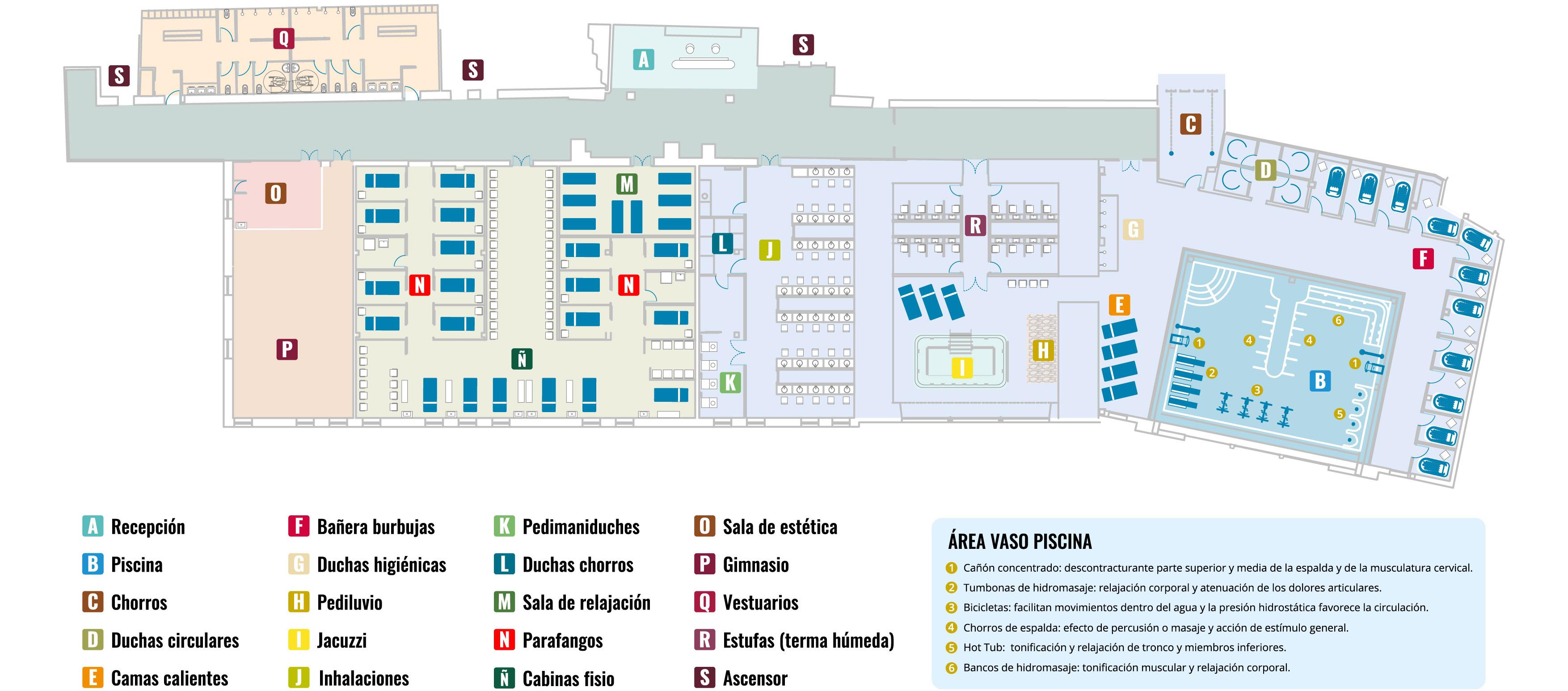 Plano de instalaciones termales del Balneario de Ledesma