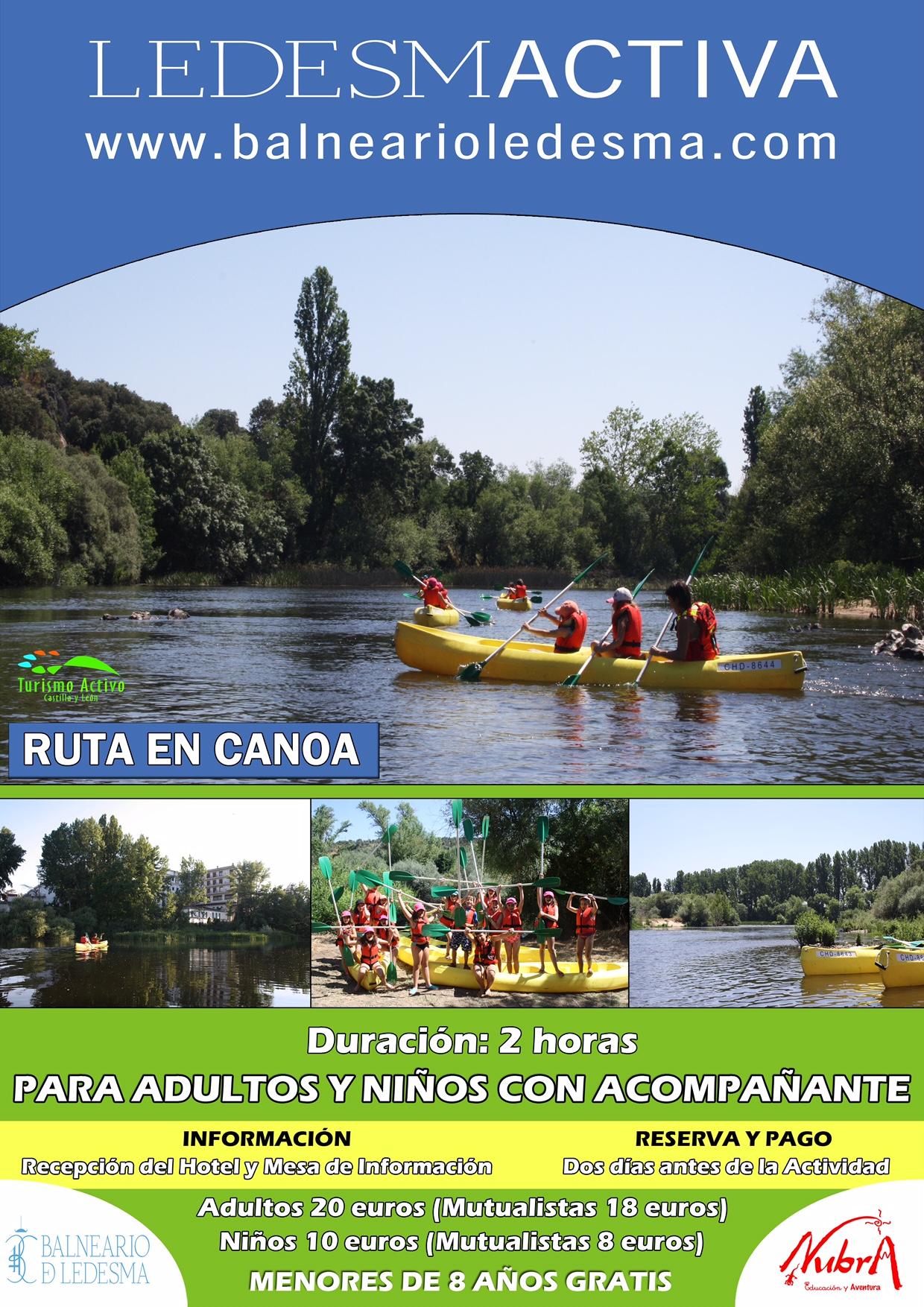 Ruta en canoa por el río Tormes Ledesmactiva para adultos y niños