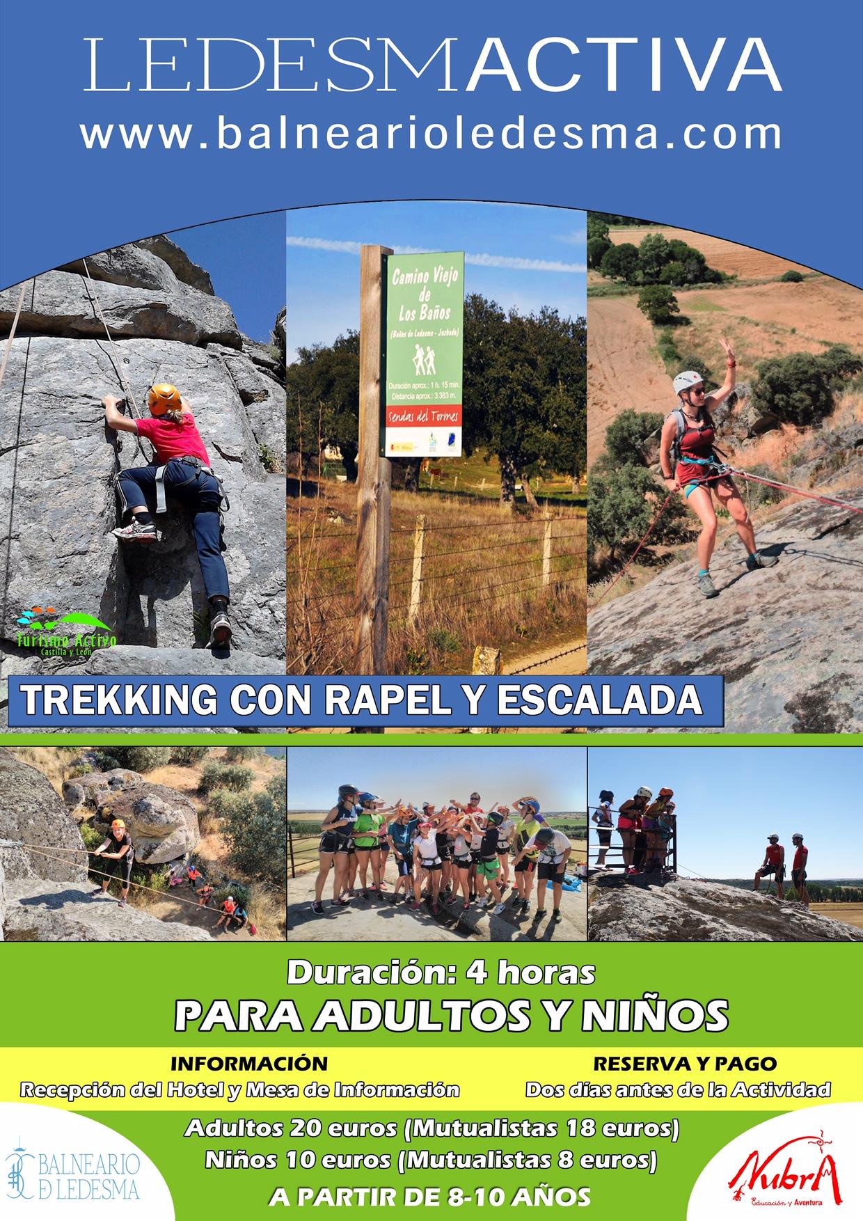 Trekking con rapel y escalada Ledesmactiva para adultos y niños