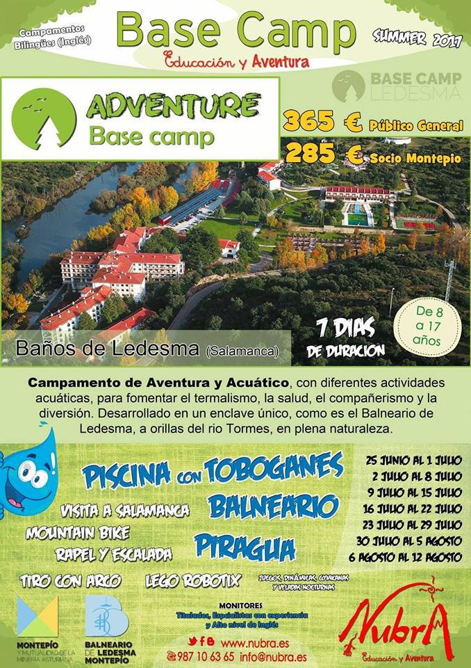Campamento SUMMER 2017 NUBRA Base Camp Adventure en el Balneario de Ledesma